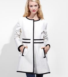 FredFlare.com - Tulle Polly Mod Coat - White Retro Coat w/ Black Trim by Tulle
