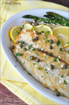 Easy Fish Piccata with Roasted Asparagus by veryculinary #Fish #Asparagus