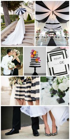 Black and white wedding inspiration #blackandwhite #weddinginspiration #stripes #modern #elegant