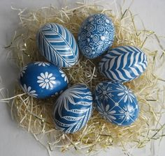 Easter Eggs set of 6 chicken eggs in Blue and White, Ukrainian estar eggs, batik style decorated chicken eggs by UkrainianEasterEggs