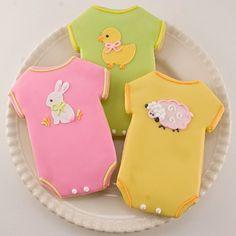 Decorated baby onesies - cookies
