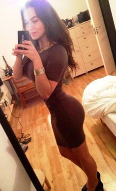 Sexy tight dress selfie