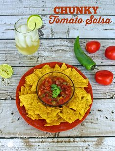 Got lots of tomatoes in your garden??? Make this delicious and EASY chunky tomato salsa -- a homemade cooked salsa recipe with fresh tomatoes. #tomatoes #salsa #realfood #yum #foodie #summer