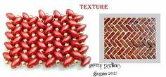 Schema from P@tty Perline. Superduo Herringbone Texture (not Herringbone stitch).  #Seed #Bead #Tutorials