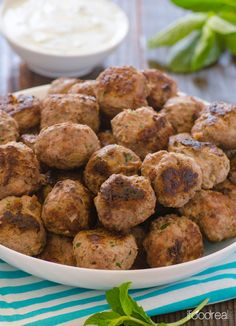 Greek Turkey Meatballs with Mint Yogurt Sauce -- Lean and flavourful turkey meatballs that are ready in 30 minutes. There will be plenty for lunch leftovers and Mint Yogurt Sauce is so good.