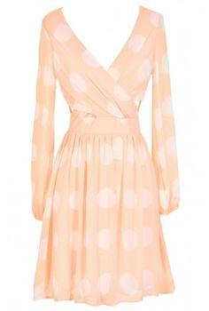 Polka Dot Crossover Chiffon Dress in Orange Crush