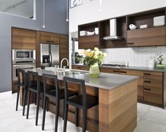 Modern Flat Island With Seating Design, Pictures, Remodel, Decor and Ideas - page 4
