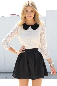Peter Pan Collar over white lace shirt, black leather skirt