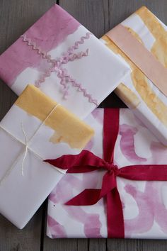 Unique homemade watercolor wrapping paper