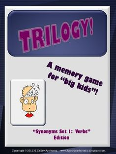 "This new memory game for ""big kids"" builds vocabulary as it explores verbs and their synonyms.  Geared for grades 3-6, students can have fun while enriching their vocabulary..."