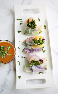 Fresh Spring Rolls + Spicy Peanut Sauce