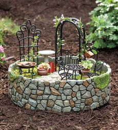 Resin And Metal Fairy Garden Accent With 11 Accessories