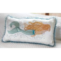Extravagantly adorned with a faux pearl necklace and tulledwaistline shows the level of detailed hand-work. #mermaidpillow #lasirena