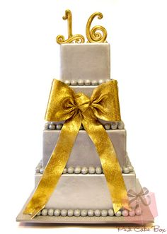Gold and Silver Sweet 16 Cake by Pink Cake Box