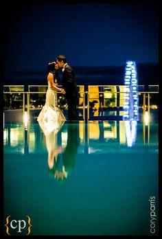 hotel pool, brides, groom night, night portrait, photo, hotel seattl, grooms, hotels, season hotel
