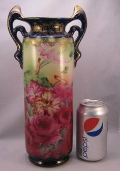 "Tall (12 1/2"") Antique Nippon Cobalt Vase w/Lots of Gold and Roses~I & E Co Mark"