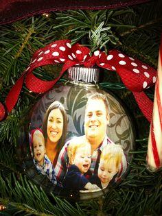christmas gift ideas, tree, famili, clear christma, photo ornaments