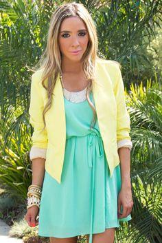 mint dress and cropped yellow blazer