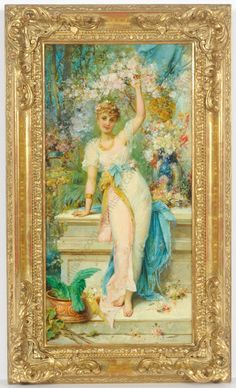"""Hans Zatzka (1859-1945) """"Time of blooming"""", oil on panel, late 19th century #LaBelleEpoque"""