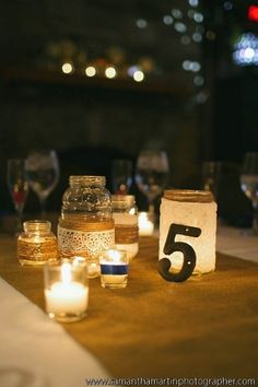 We love the sweet mason jars and table numbers at this Augustine Golf Club wedding! {Augustine Golf Club}