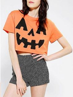 You can't go wrong with a Jack-O-Lantern crop top! costumes, cloth, crop tops, halloween pumpkins, fall, pumpkin crop, crop tee, halloween outfits, black