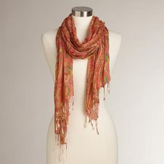 One of my favorite discoveries at WorldMarket.com: Orange and Yellow Paisley Scarf