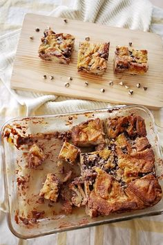 Nutella and chocolate chip bread pudding.