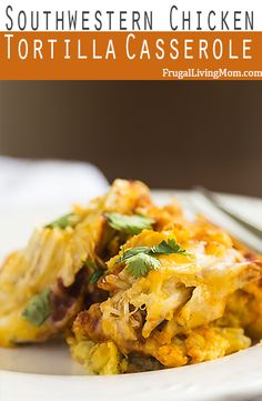 Need some comfort food? Try this Crock Pot Southwestern Chicken Tortilla Casserole.  YUMMY! #slowcooker #easydinner #chicken