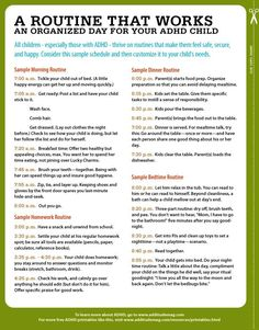 Here's a sample routine for ADHD children, from waking up to homework to bedtime. Download it for free here. #ADHD #Twice Exceptional #2E #GLD #Gifted Learning Disabilities #Dual Exceptionalities