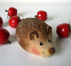 Russian hedgehog toy . Vintage USSR flocked hedgie.