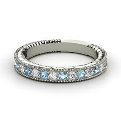 Victoria Band, White Gold Ring with Blue Topaz