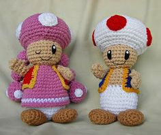 Toad and Toadette free Amigurumi patterns. WolfDreamers blog is fab with lots of other really great patterns :)