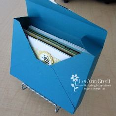 "Card Box tutorial - holds 10 standard sized cards and envelopes - 11"" square sheet makes one."