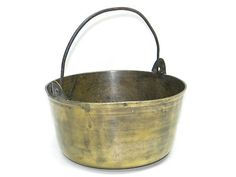 Antique Decorative Metal Solid BRASS KETTLE with Handle Collectible Vintage Pot