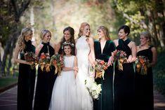emerald fall wedding | emerald green for elegant fall weddings bridal party gowns | OneWed ...