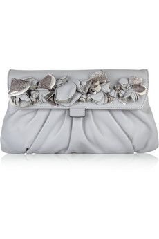 Valentino Floral-embellished leather clutch | THE OUTNET