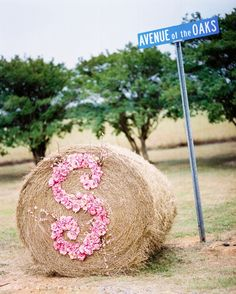 road marker for wedding.. This is genius. Good thing we have a huge round baler... 6 ft bales will be hard to miss! Only a horse girl would think of this.