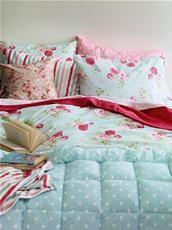 Cath Kidston - Antique Rose Bouquet Duck Egg Single Duvet Cover