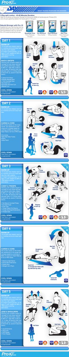 5 Day split routine 45-60 minute duration http://www.pro-10.com/blog/2012/03/30/weight-training-plan-for-beginners-infographic/