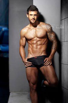 Matt Chapman © SIMON LE photographybysimonle.com # male fitness model pecs six pack abs hot guy