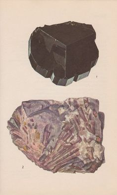 Vintage Print Rocks and Minerals Tourmaline and by PineandMain. $6.00, via Etsy.