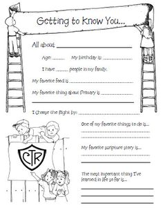 Cute Spotlight sheet to do on kids bdays in primary!