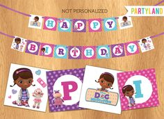Doc McStuffins party birthday banner - Printable Digital file (4x4 square). $5.50, via Etsy.