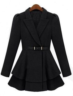 Black Lapel Puff Sleeve Drawstring Waist Tweed Coat