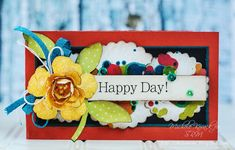 Happy card uses alcohol inks, punched shapes, and a pretty flower!