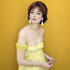 Tania Mallet in strapless sundress, c.1965