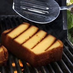 Grilled Lime Pound Cake with Raspberry Sorbet