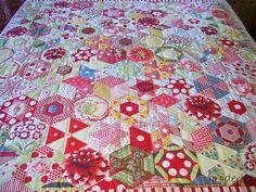 sew, beauti hexagon, candi hexagonsthi, hexagon quilt, color
