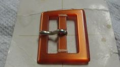 Vintage Le Chic Orange Brown Belt Buckle  by Mackymac for $2.70