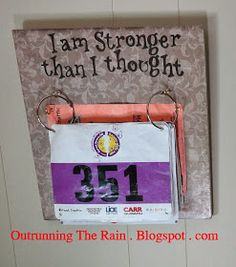 Outrunning The Rain: DIY Race Bib and Medal display (cost about $17.00) Medals Display, Race Bib Display Diy, Race Bib Display Ideas, Diy Medal Display, Diy Race, Running Medal Display Diy, Race Bib And Medal Display, Quot, Race Bib Ideas